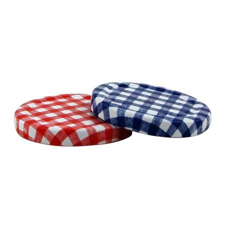 63mm Red Gingham lids - Pack of 100