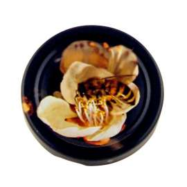 63mm Black lid with Bee on White Flower - Pack of 100