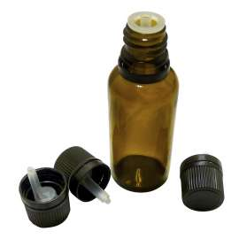 GL18 Black tamper evident cap with drop dispensing insert to suit amber dropper bottles - 100 per pack