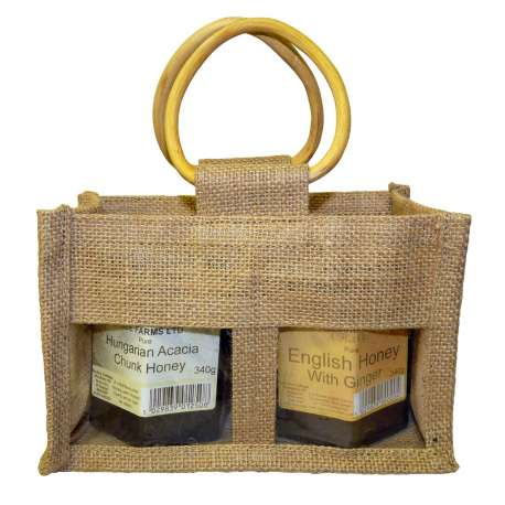 2 jar Jute bag with clear windows - pack of 10