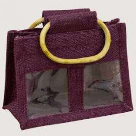 Two Jar Jute Bag with clear windows - pack of 10