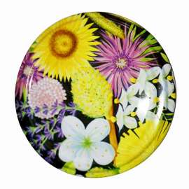 63mm Flower Print lids - Pack of 100