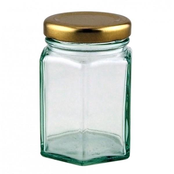 4oz Hexagonal Jar Supplied With 48mm Gold Metal Lid