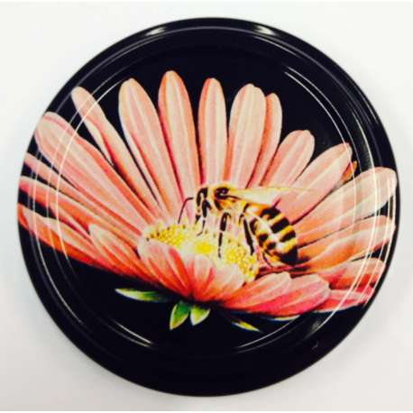 63mm Black lid with Bee on Pink Flower - Pack of 100