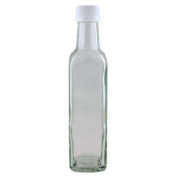 8oz Clear Glass Bottle Supplied With 28mm White Plastic Lid