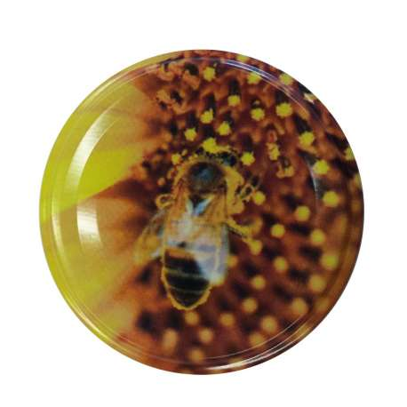 63mm Bee on Yellow Flower lids - Pack of 100