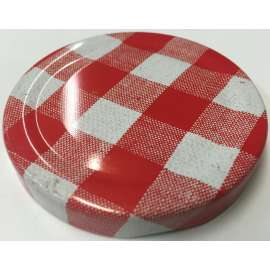 82mm Red gingham lids - Pack of 100