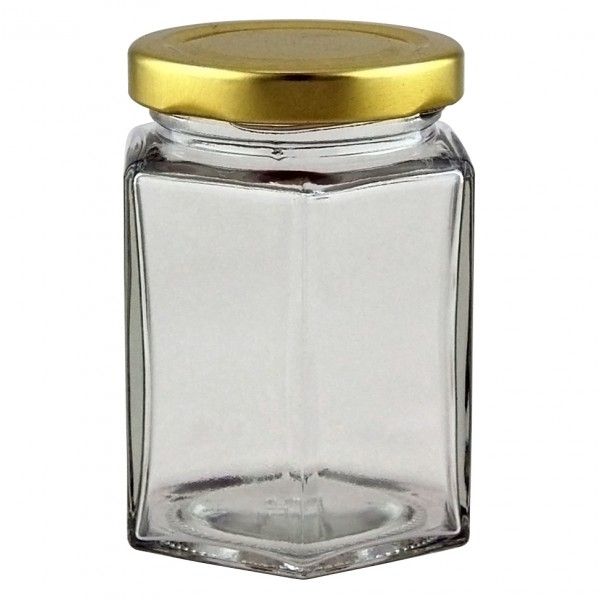 8 Oz Hexagonal Jar Supplied With 58mm Gold Metal Lid
