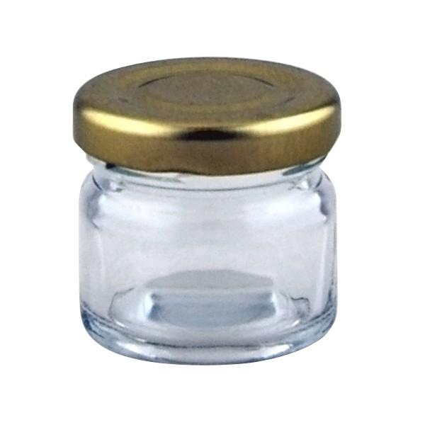 1oz mini jar supplied with 43mm gold lid. Black Bedroom Furniture Sets. Home Design Ideas