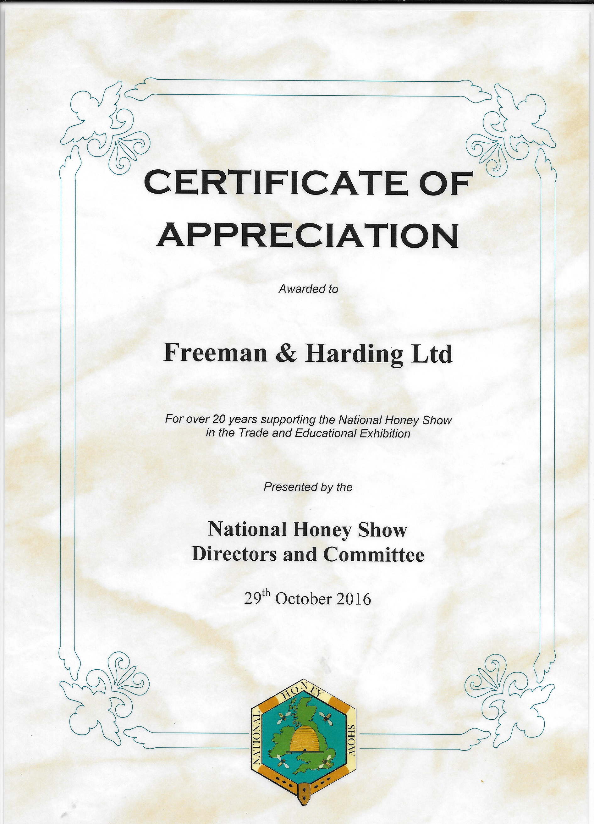 National Honey Certificate